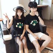 情侣装夏装2017新款韩版短袖T恤套装夏季沙滩蜜月连衣裙女学生潮