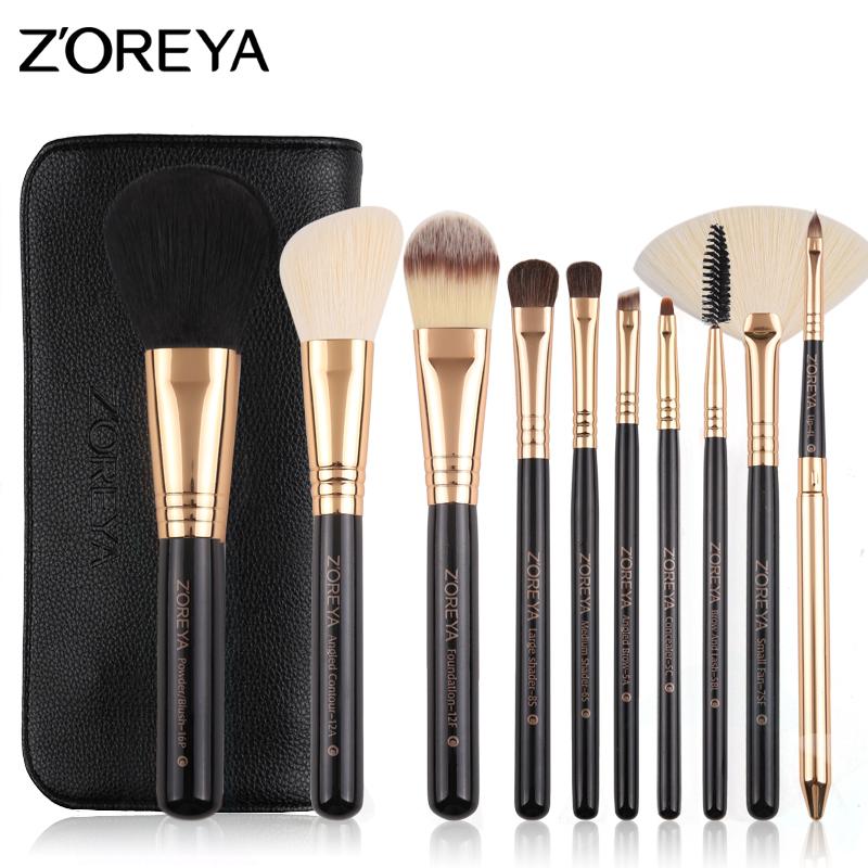 ZOREYA10支纤维毛化妆刷套装便携刷包初学散粉刷套刷美妆工具全套