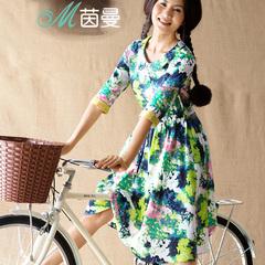 茵曼女装 夏季新款连衣裙娃娃领修身夏裙中长裙女裙子8521010894