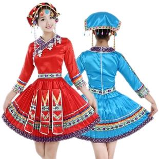 苗族舞蹈演出服云南少数民族特色表演服装土家族黎族成人百褶裙女