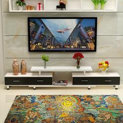 兄联钢化玻璃电视柜茶几组合简约现代欧式小户型客厅伸缩电视机柜