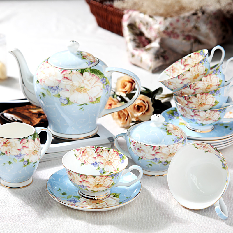 千典咖啡杯套装欧式茶具15头咖啡具骨瓷英式下午茶样
