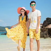 沙滩情侣装夏装女裙连衣裙蜜月海边度假必备套装男韩版短袖t恤衫