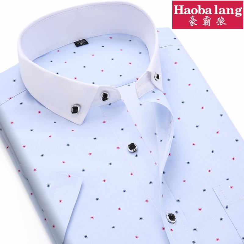 2015夏季男装男士短袖衬衫韩版修身印花半袖型男潮流衬衣青年寸衫
