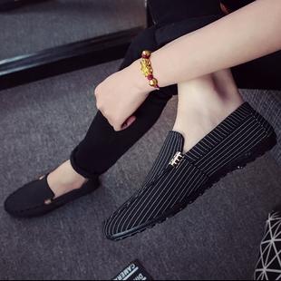 2017夏季新款男士韩版豆豆鞋休闲百搭帆布鞋一脚蹬懒人鞋潮流男鞋