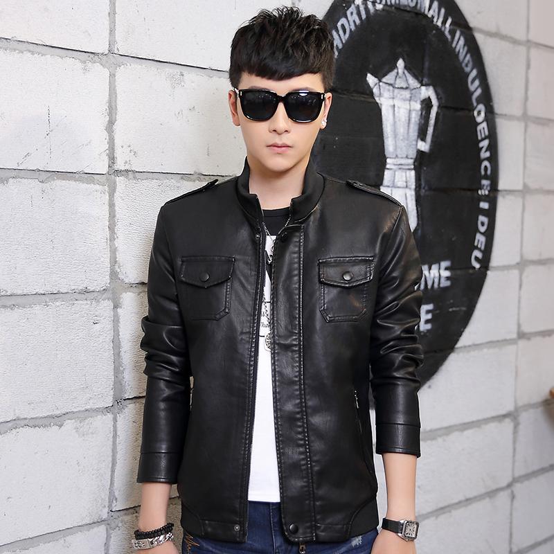 秋季修身型外套休闲男装常规青年男士立领新款仿皮皮衣韩版皮衣