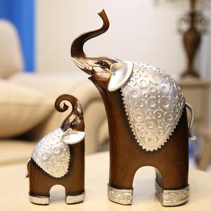 书房家居饰品摆设大象摆件一对创意酒柜复古招财装饰工艺品