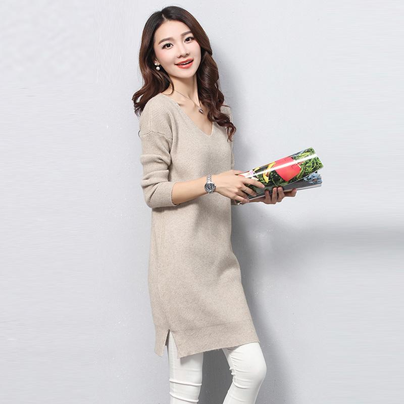 女士提花毛衣秋冬季新款女装修身套头毛衣中长款外穿打底衫针织衫