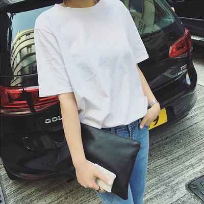 夏装白色体恤韩版宽松简约纯色短袖T恤女学生半袖上衣服打底衫潮