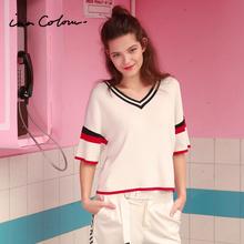 茵佳妮2017年夏装新款欧美风宽松V领套头条纹五分袖毛衣女针织衫图片