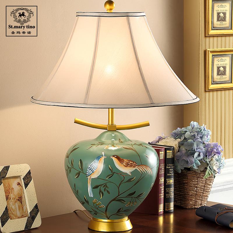 美式大陶瓷欧式台灯卧室床头灯客厅奢华复古布艺书房