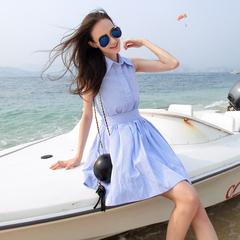 谜秀 女装夏装2016新款潮韩版中长款条纹无袖裙子衬衫连衣裙夏季