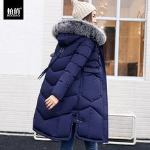 冬季外套女棉衣大毛领中长款韩版加厚长款过膝羽绒棉棉服处理冬装