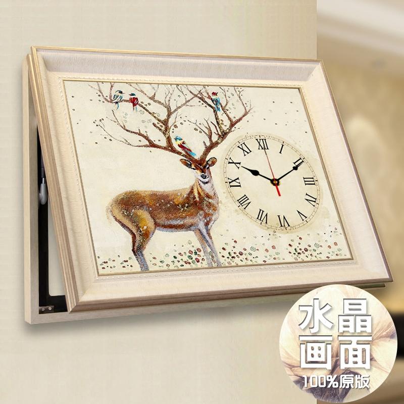 欧式电表箱装饰画可推拉带钟表客厅遮挡开关电闸盒箱