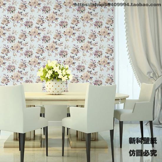 美式田园浅紫色淡雅大花纯纸壁纸 客厅卧室餐厅电视床头背景墙纸