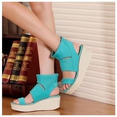 Daphne/达芙妮凉鞋松糕跟厚底包跟高帮年轻女鞋反季清仓特价