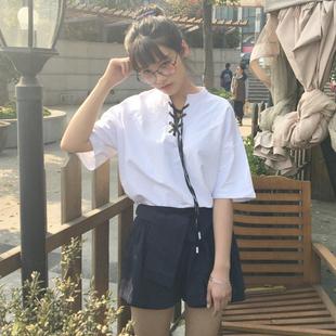 春夏女装2017新款韩版宽松百搭领口绑带短袖T恤中袖学生上衣+短裤
