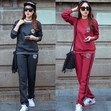 秋冬季新款韩版抓绒卫衣时尚休闲纯棉运动服套装两件套大码女款P