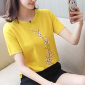夏装2017新款女宽松短袖冰丝针织衫 圆领体恤衫女 针织T恤上衣潮
