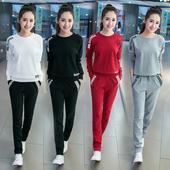 2017春季新款韩版长袖时尚卫衣圆领修身套头休闲服运动两件套装女
