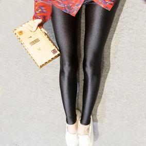 正品光泽裤女薄款外穿打底裤春季夏季加大码小脚显瘦踩脚九分裤子