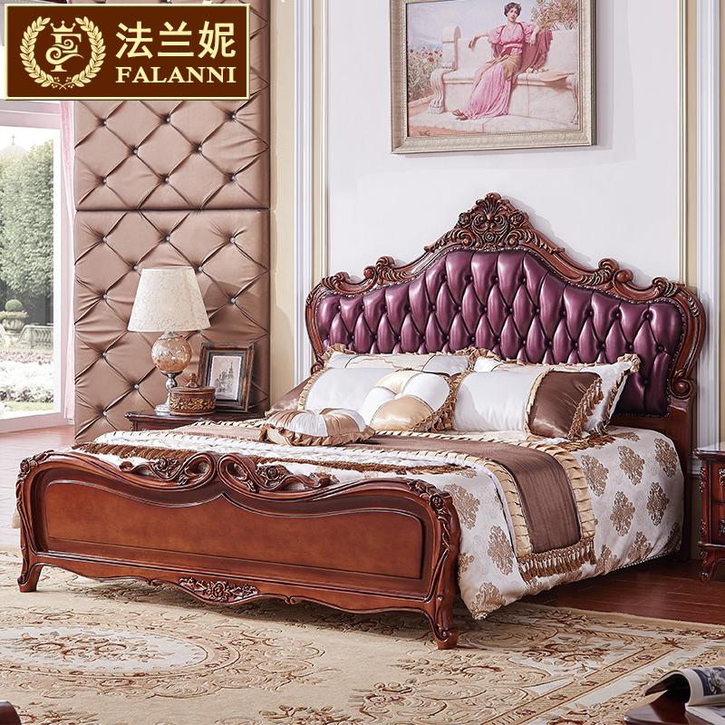 法兰妮家具美式床实木床乡村复古欧式双人床真皮床1