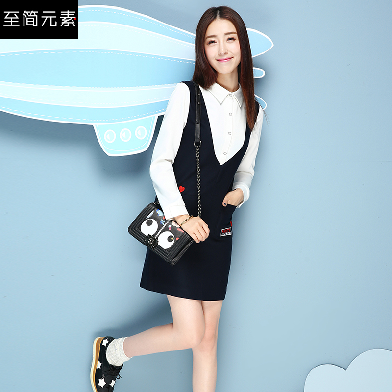 2017春装新款韩版女装长袖背带连衣裙时尚冬季假两件套打底短裙子