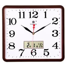 七王星方形电子挂钟客厅静音钟表家庭创意时尚艺术万年日历石英钟