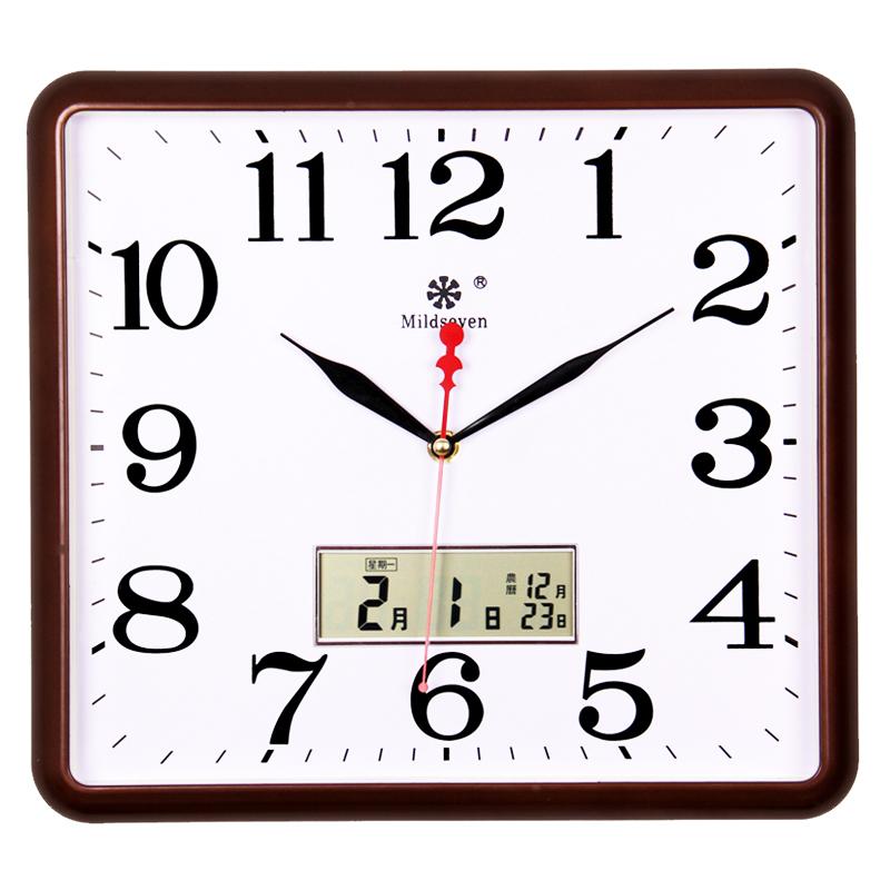 七王星方形电子挂钟客厅静音钟表家庭创意时尚艺术钟