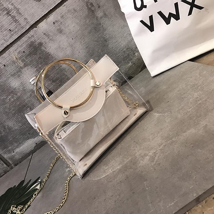 包包時尚透明挎包果凍小包鏈條手提包夏季百搭單肩斜