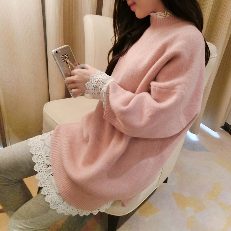 蝇蝇秋冬款粉色圆领长袖修身显瘦套头打底针织衫中长款毛衣女外套
