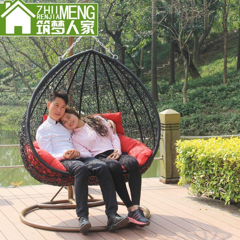 筑梦人家吊篮藤椅双人秋千休闲摇椅户外家具室外椅阳台藤椅藤吊篮