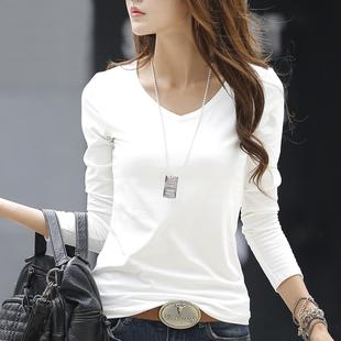 纯造春季V领白色长袖t恤女装纯棉简约打底衫修身体恤韩版百搭上衣