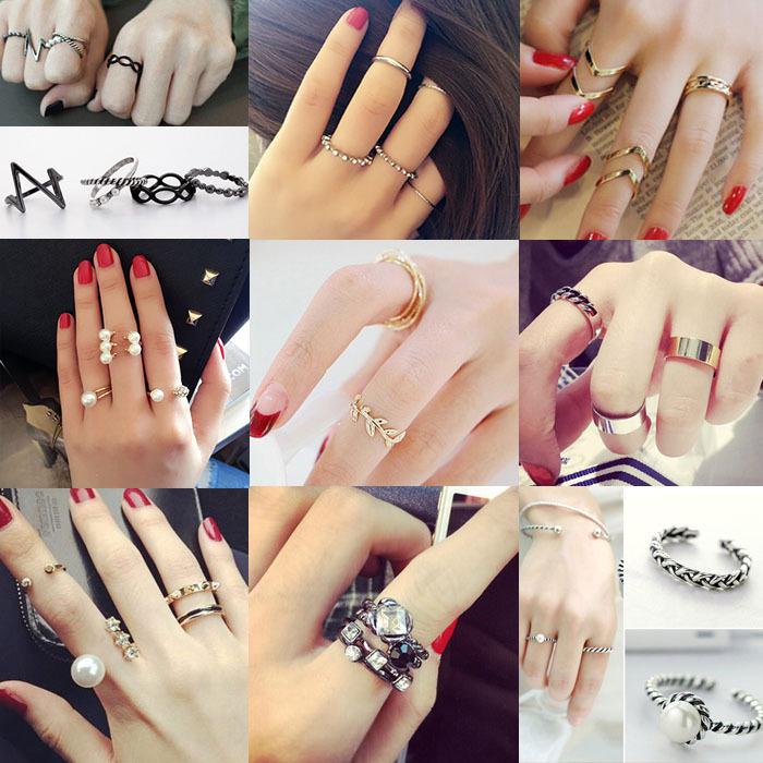 奥酷纳韩版饰品时尚珍珠气质百搭仿钻多件套三件套戒指指环女1301