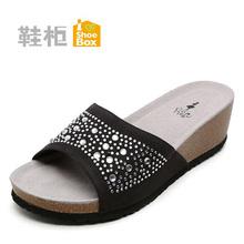 1115303121 舒适坡跟女拖鞋 柜正品 达芙妮旗下鞋