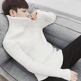 秋装新品男士修身加厚高领毛衣韩版开衫针织衫青年毛线衣外套男潮