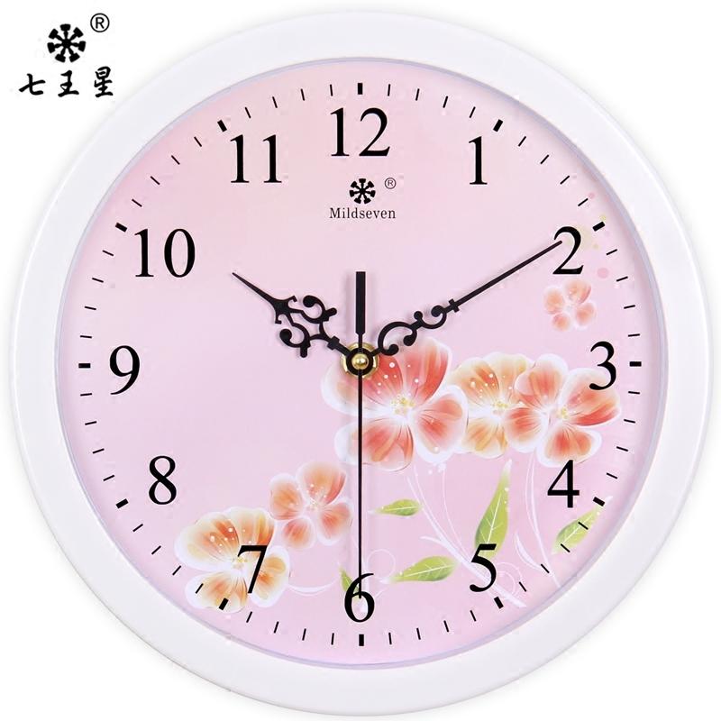 七王星挂钟客厅艺术创意钟表圆形静音电子石英钟表时尚田园挂钟表