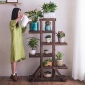 防腐木创意木质花架子室内多层阳台花架实木落地式地面客厅花盆架