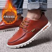 男鞋冬季潮鞋男士棉鞋休闲皮鞋英伦圆头系带豆豆鞋青年黑色鞋子男