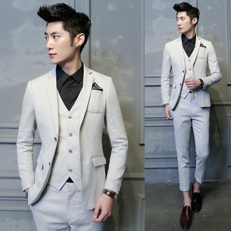 平驳领西服套装婚礼后中开衩套装韩版适合修身男装精致韩风