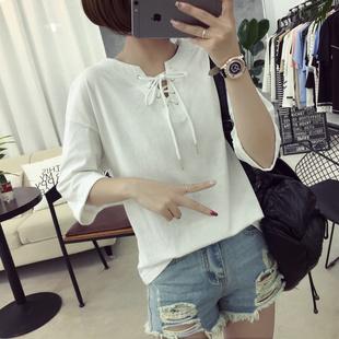 短袖t恤女2017春夏韩版潮学生抽绳绑带百搭显瘦纯色半袖上衣服装