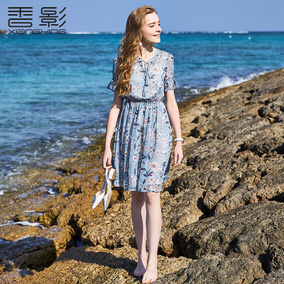 碎花雪纺连衣裙 香影2017夏新小清新收腰裙子女中长款度假沙滩裙