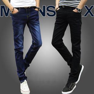 【2条装】夏季薄款牛仔裤男士弹力修身小脚裤韩版黑色长裤子男潮