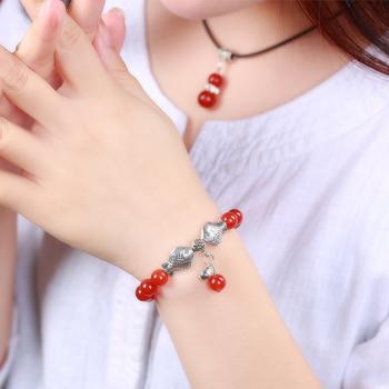 正品天然红玛瑙手链民族风饰品 红色水晶手串本命年男女水晶饰品