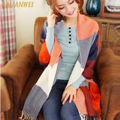 卡兰薇韩版秋冬季流苏披肩两用厚针织超长女韩版百搭毛线格子围巾