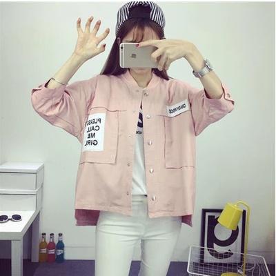 短款外套女2016春秋新款韩版长袖休闲学生糖果色甜美百搭立领上衣