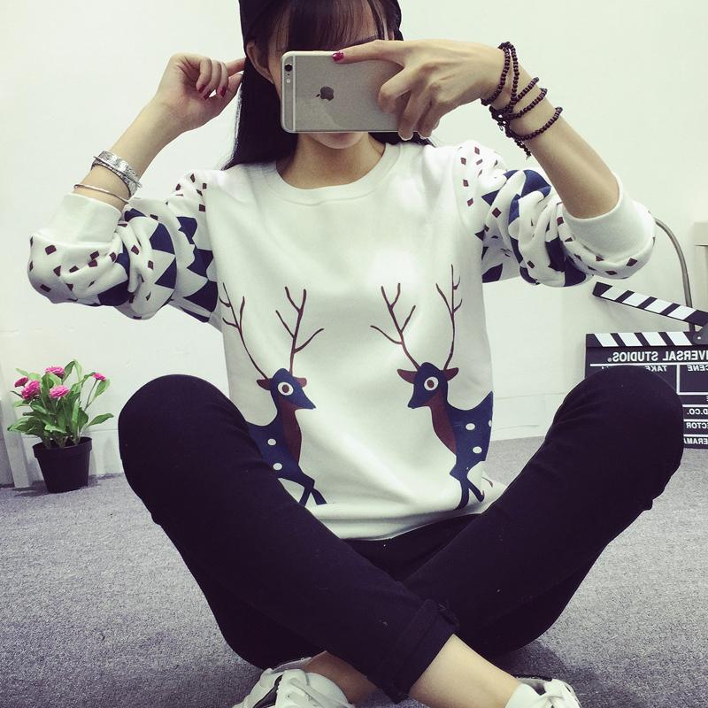 秋冬装小鹿印花卫衣女学生保暖加绒加厚外套头韩版长袖女装上衣潮