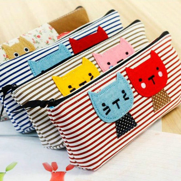 Canvas Purses Cat Stripe Pen Pencil Case Coin Cosmetic Makeu