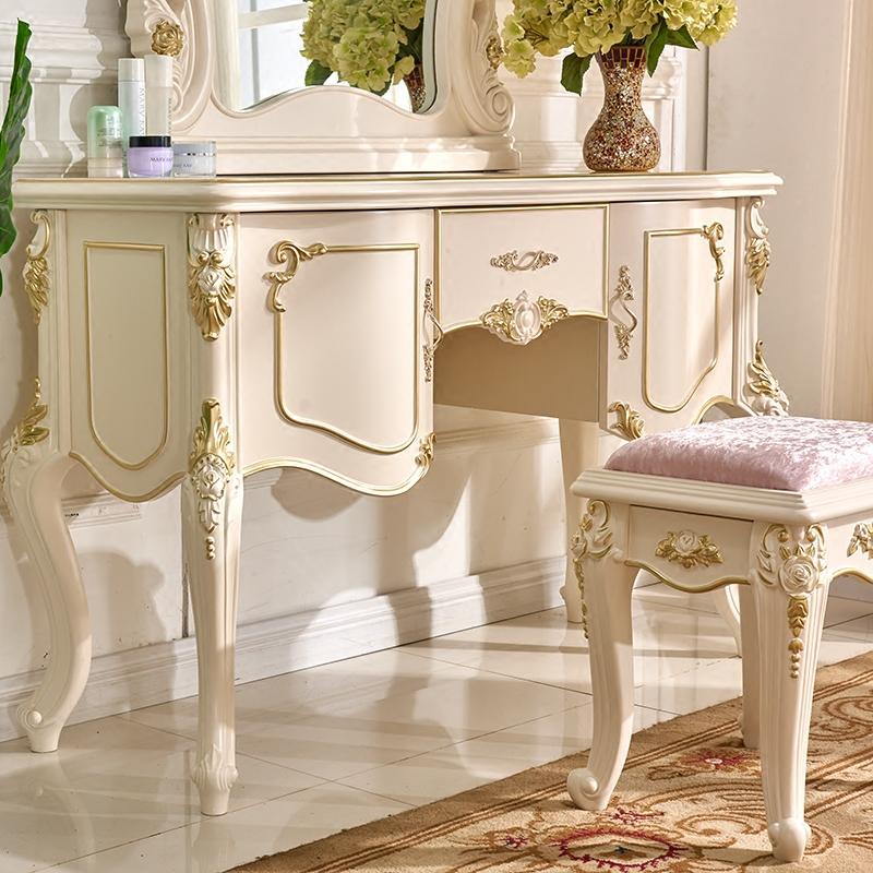 欧式梳妆台 法式白色奢华描金化妆桌