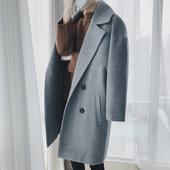 毛呢外套男中长款韩版修身显瘦加厚学生宽松2017新款秋冬呢子大衣